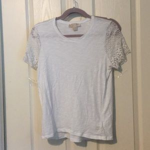 MK white tee with lace sleeves